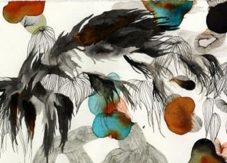 Midnight Menace, 2010 18,5 x 47,5 cm Encre de chine, aquarelle & feutres sur papier / India ink, watercolour & felt pens on paper Collection particulière / private collection