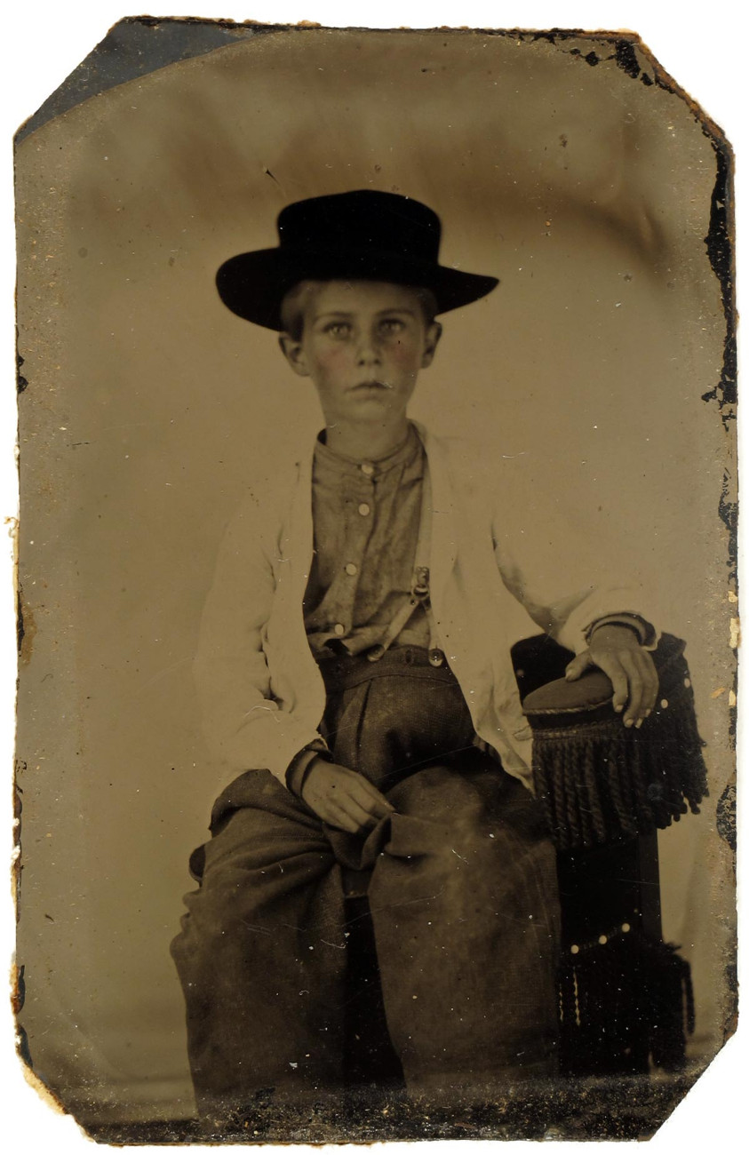 Unidentified Young Boy Wearing a Large Hat, 1860s