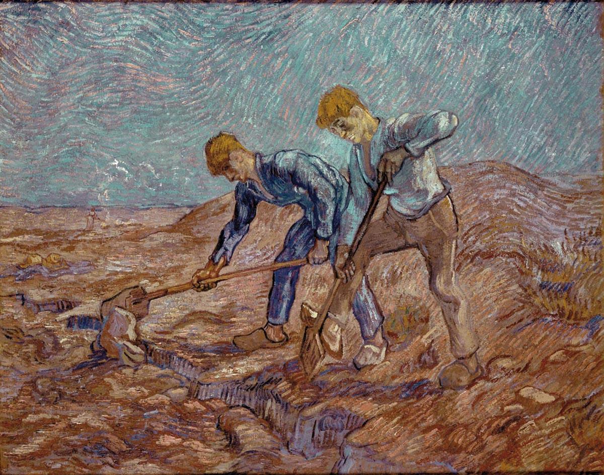 Les bêcheurs (d'après Jean-François Millet), 1889, Peinture à l'huile , 72 x 93 cm  © Collectie Stedelijk Museum Amsterdam La toile a été réalisée lors de son séjour à l'asile Saint-Paul-de-Mausole, à Saint-Rémy de Provence. On voit ici l'évolution du style de l'artiste, l'utilisation de la couleur, notamment du bleu de Delacroix.