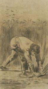 Moissoneur à la faucille (1880)  d'après Jean -François Millet, dessin, 55,5 x 30 cm © Uehara Museum of Modern Art