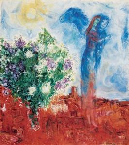 Marc Chagall, Couple au-dessus de Saint-Paul, 1968, huile sur toile. Collection privée © Chagall ® SABAM Belgium 2015