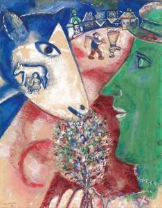 Marc Chagall, Moi et le village, 1912, crayon, aquarelle et gouache sur papier. Bruxelles, Musées royaux des Beaux-Arts de Belgique, inv. 11108. © MRBAB, Bruxelles / Chagall ® SABAM Belgium 2015 / photo: J. Geleyns / Ro scan