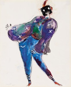 Marc Chagall, Maquettes de costume pour « 'L'Oiseau de feu » d'Igor Stravinski : Monstre masqué violet, 1945, gouache, encre de Chine et crayon sur papier. Collection privée © Chagall ® SABAM Belgium 2015