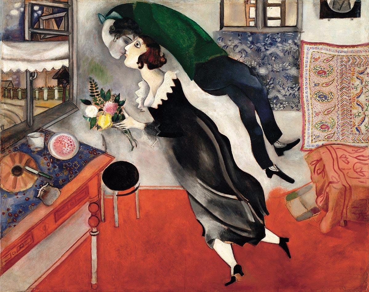 Marc Chagall, L'anniversaire, 1915, huile sur carton. New York, Museum of Modern Art. Acquis grâce au legs Lillie P. Bliss, 1949, inv. 275.1949 © The Museum of Modern Art, New York. ® SABAM, Belgium 2015 / photo: Scala, Firenze
