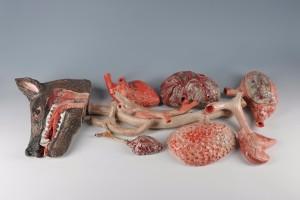 Autopsie du loup, 2009, Ensemble de 13 pièces uniques en céramique émaillée