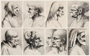 Wenzel-Hollar-(1607–1677)-naar-Leonardo-da-Vinci-(1452–1519),-Karikaturale-koppen-van-mannen-en-vrouwen,-etsen,-1645.-Teylers-Museum-Haarlem
