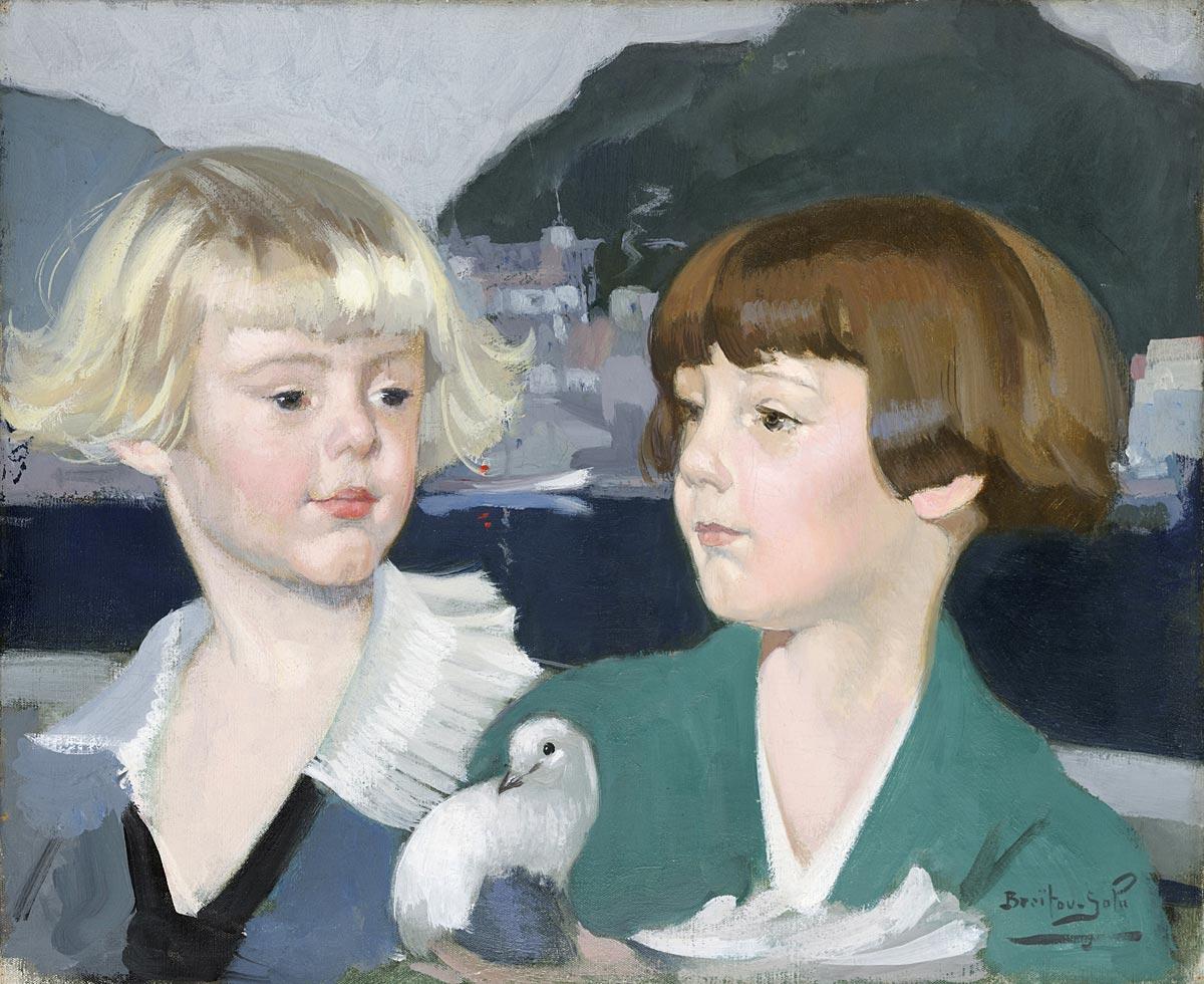 Braïtou-Sala (1885-1972), Portrait des enfants Robic, 1925 Tempera sur toile H. 38 ; L. 46 cm  Collection particulière