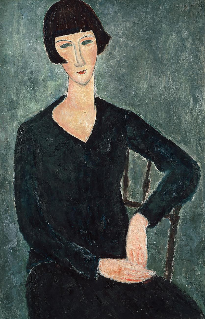 Femme assise à la robe bleue, 1918-1919. Moderna Museet, Stockholm. Donation d'Oscar Stern, 1951. Photo : Moderna Museet, Stockholm.