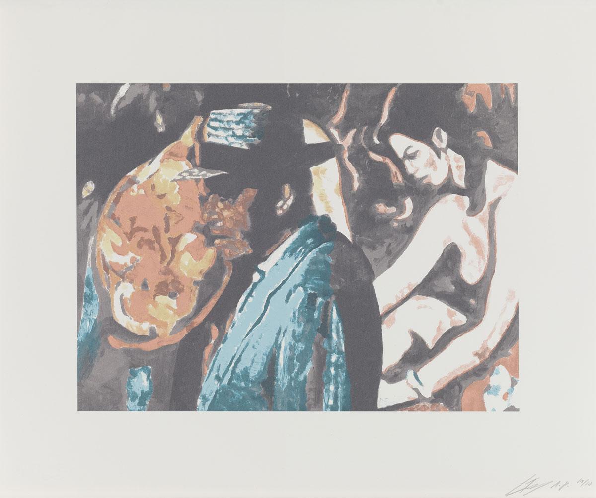 Luc Tuymans, Allo!, 2012. Estampe n°3 d'une série de 3 sérigraphies en 9 couleurs ; feuille : 56,5 x 70,5 cm ; image : 36,8 x 50 cm. Courtesy Studio Luc Tuymans, Anvers (Belgique). Photo : © Studio Luc Tuymans. © Luc Tuymans, 2016.