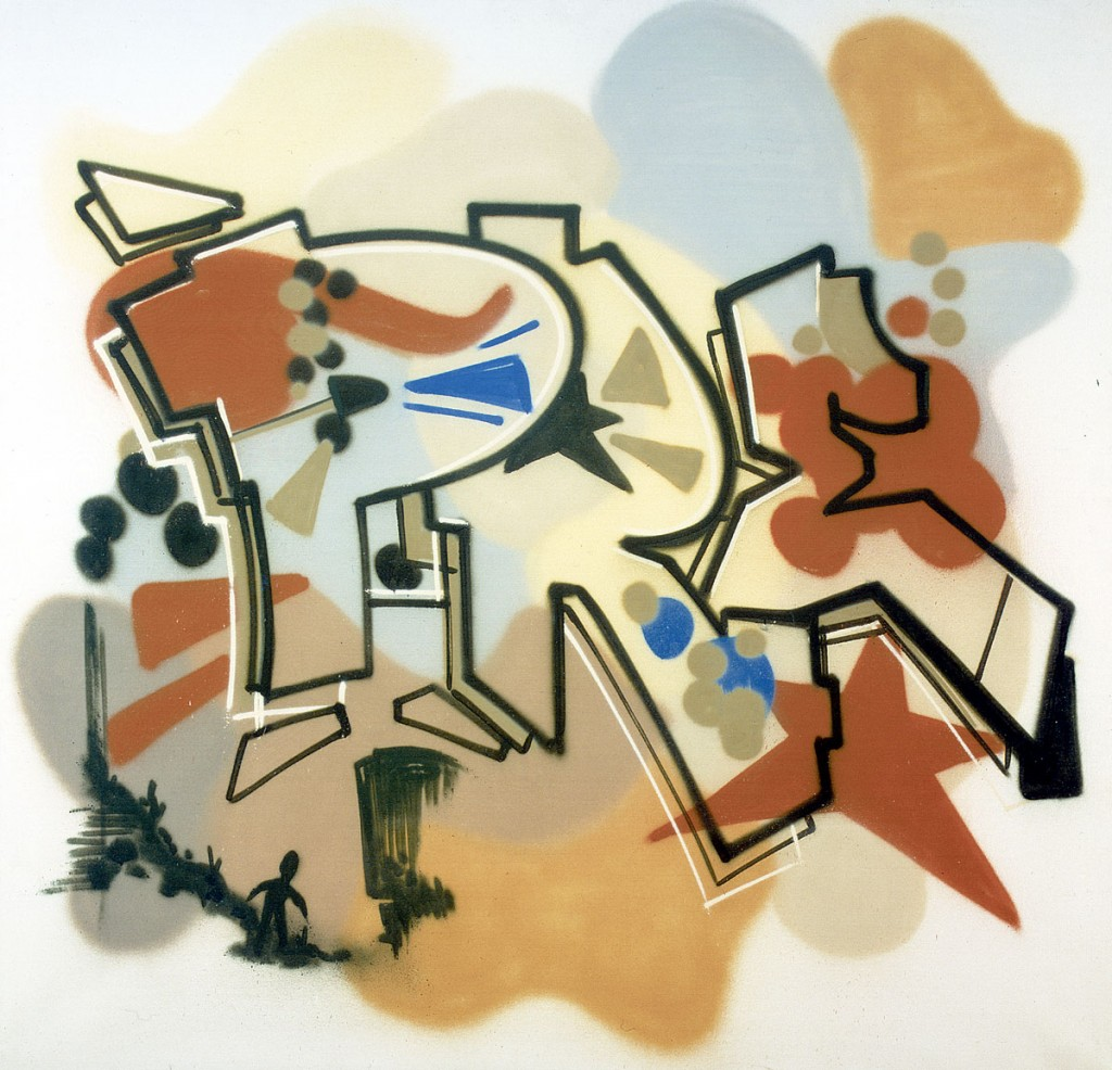 Dondi White - Pre Altered States, Spray Paint on canvas, 180x185cm, 1984 - collection Henk Pijnenburg