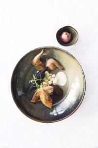 Pigeon boudin noir, coco de paimpol et sorbet aux raisins © Cici Olsson