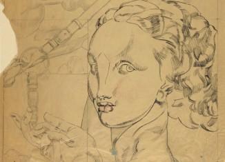 Étude de détail pour En robes de soie dans la forêt : tête du personnage féminin à droite, vers 1927. Crayon graphite, estompe, plume et encre noire sur papier Vergé 17,1 x 12,5 cm