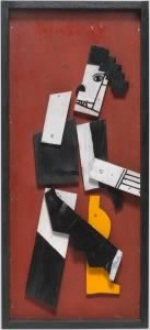 Fernand Léger, Charlot cubiste, [1924] Éléments en bois peints, cloués sur contreplaqué, 73,6 x 33,4 x 6 cm Dation en 1985 numéro d'inventaire : AM 1985-402 Collection Centre Pompidou, Paris Musée national d'art moderne - Centre de création industrielle © Centre Pompidou, MNAM-CCI/Georges Meguerditchian/Dist. RMN-GP © SABAM Belgium 2018