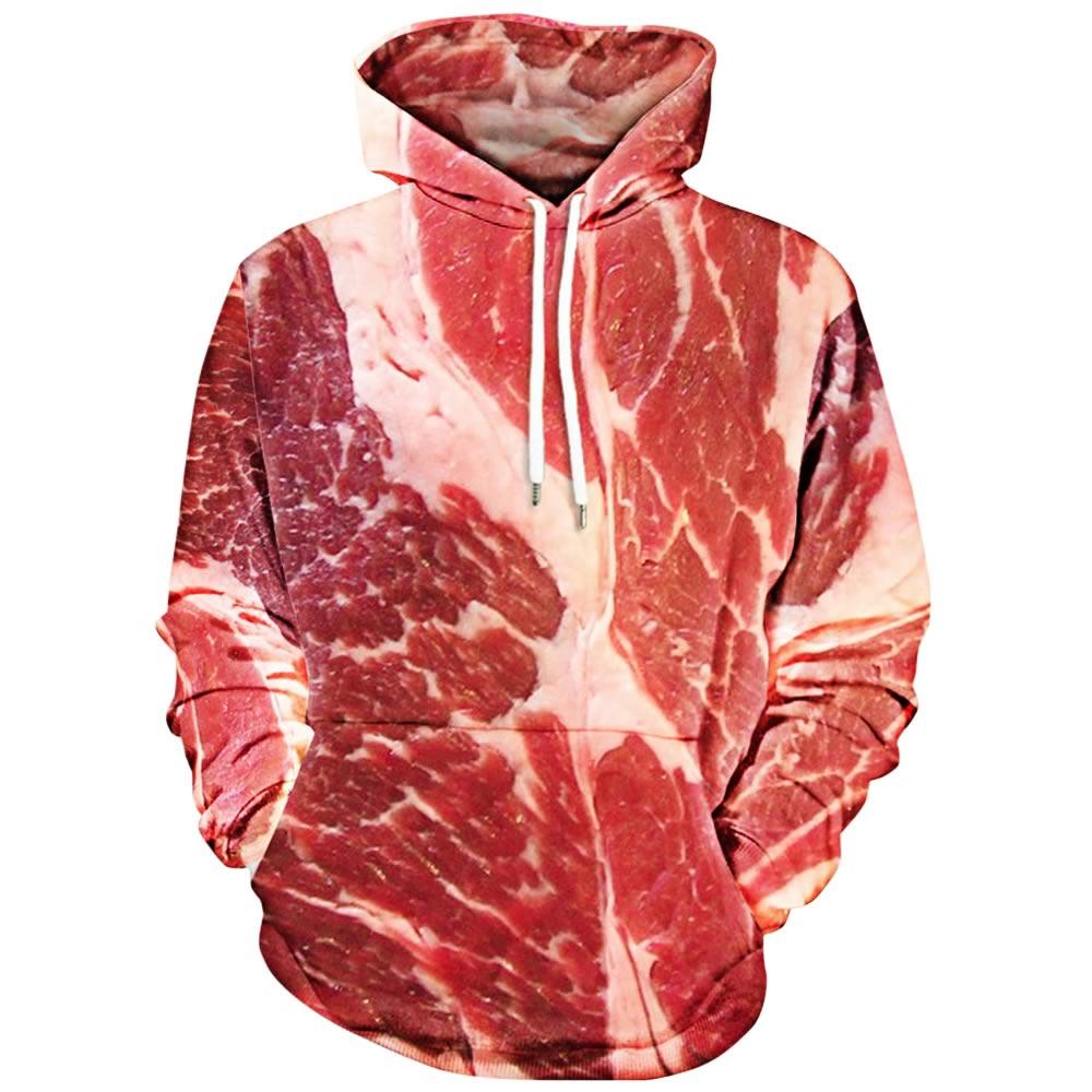Ce pull aux allures d'étals de boucherie a été imaginé par la marque Gamiss.