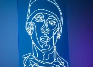BLUE EMINEM. White EL Wire on Blue Fluorescent Acrylic  70 cm x 45 cm  Connected with EL Inverter Power Source. Hong Kong, December 2017.