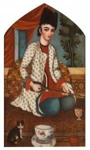 Joueur de setar, Iran, vers 1830-1840, Huile sur toile Paris, Bibliothèque universitaire des langues et civilisations orientales © INALCO / Philippe Fuzeau