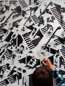Détail structure, encre de chine sur papier, 140X140cm, 2009