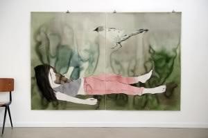 Françoise Pétrovitch, De la série etend, lavis d'encre sur papier 2015 © Galerie Semiose