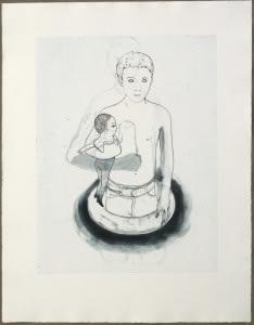 Françoise Pétrovitch, Garçon à la poupée, 2012, Gravure taille-douce sur papier, 93,5 x 72,5 cm, Commande de la Chalcographie  du Musée du Louvre