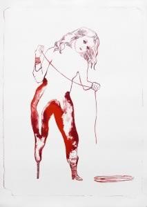 Françoise Pétrovitch, Sur un pied, lithographie, 2011, 90 x 63 cm, édition Item, Paris, Collection de la Ville de La Louvière