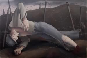 Robert Angerhofer (1895-1987), Dead Soldier in Barbed Wire, C. 1920, Oil on canvas, 107 x 147cm © NORDICO Stadtmuseum Linz