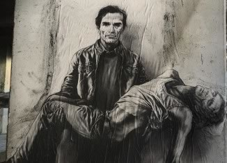Pasolini assassiné - Si je reviens. Napoli / Scampia 4, 2015, © Ernest Pignon-Ernest et Courtesy Galerie Lelong & Co.