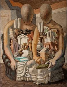 Giorgio de Chirico, Les archéologues, 1927, huile sur toile, 132,6 x 105,3 cm, Galleria Nazionale d'Arte Moderna e Contemporanea, Rome photo Antonio Idini © SABAM Belgium 2019