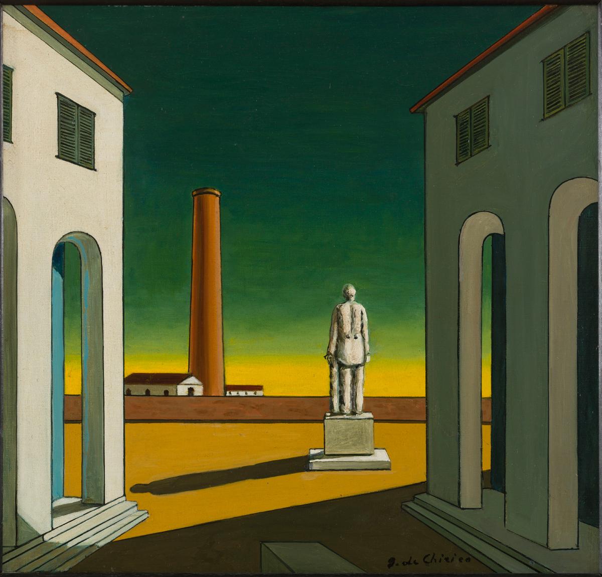 Giorgio de Chirico, Place d'Italie avec statue, ca 1965-1970, huile sur toile, 40 x 41,5 cm, Musée d'Art moderne de la Ville de Paris © Musée d'Art Moderne/Roger-Viollet Photo:©Tate, London 201 © SABAM Belgium 2019