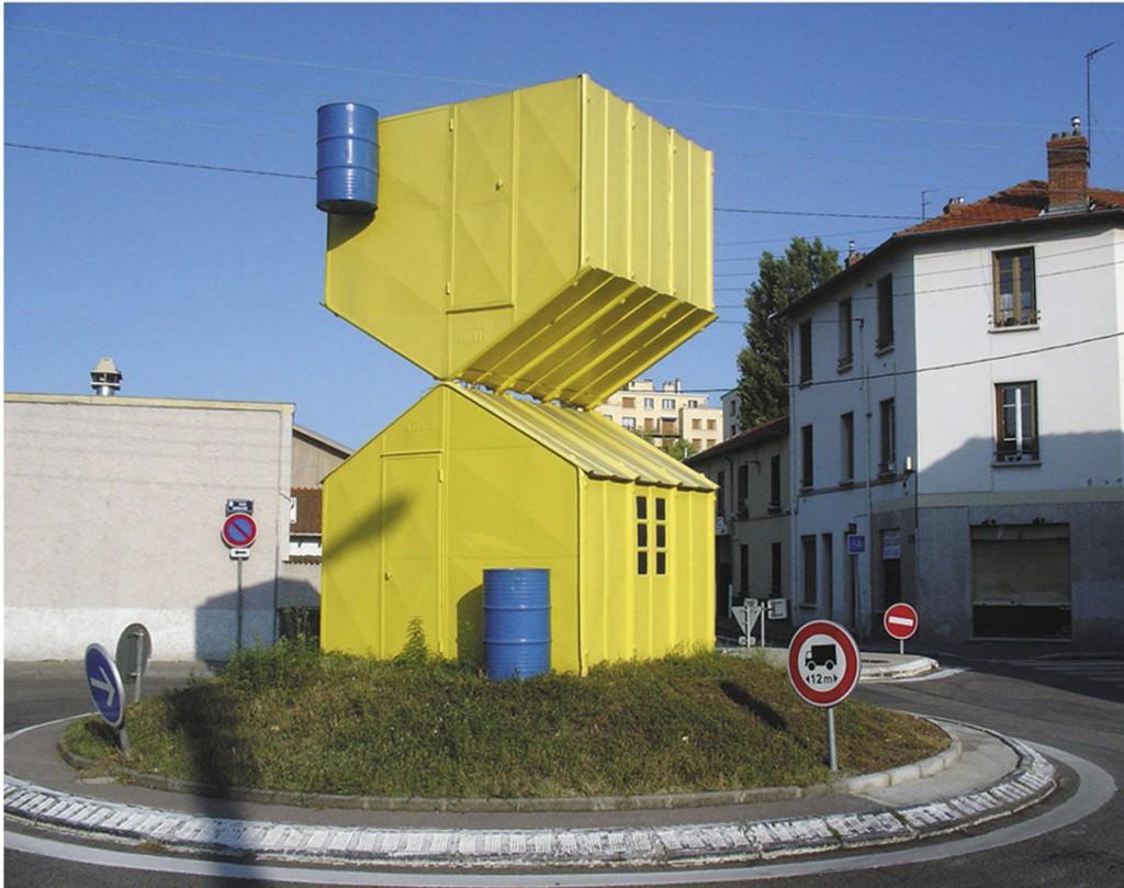 étienne Bossut, Autour d'un abri jaune, Villeurbanne, 1988 © Art / Entreprise