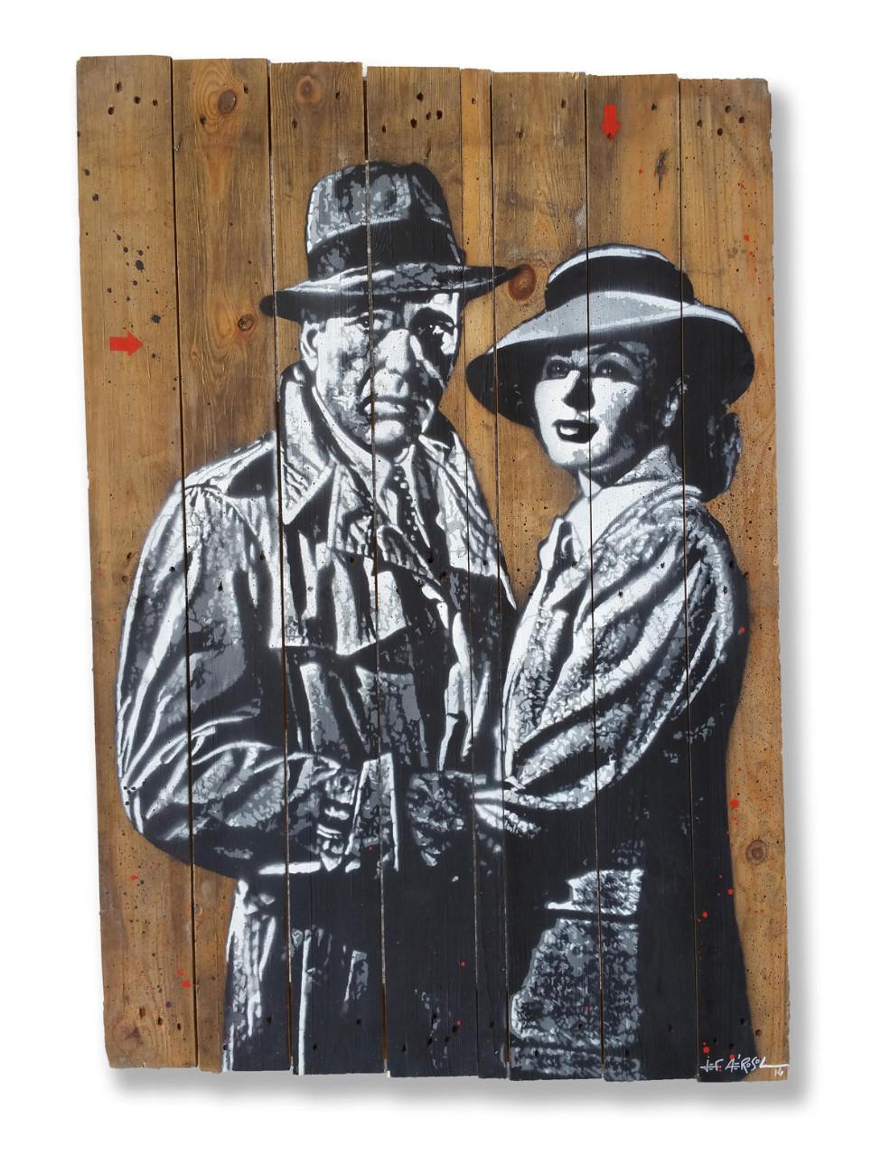 Jef Aérosol, Casablanca, 2014 - Aérosol et pochoir sur palissade en bois, 72 x 102 cm Collection privée, Paris