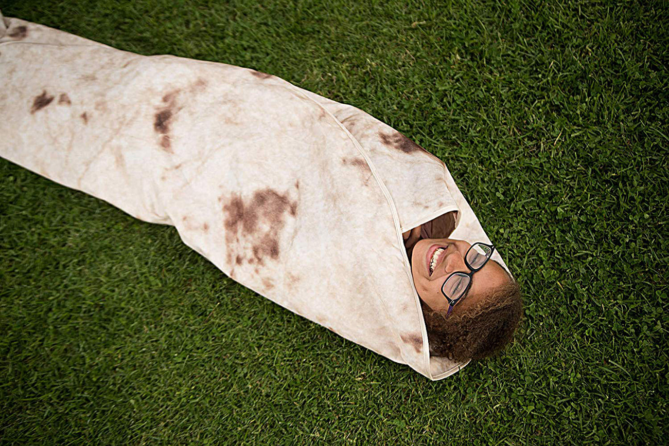 https://www.amazon.com/Zen-Life-Burrito-Blanket-Tortilla/dp/B01N05KZQY/ref=cm_cr_arp_d_product_top?ie=UTF8 Zen Life Burrito Blanket, Be a Giant Human Burrito, Tortilla or Taco, Soft & Plush Giant Round Beach Towel for Kids or Adults Credit: Zen Life