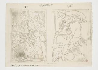 Picasso Pablo, « Le Banquet et Cinésias » et « Myrrhine », 17 janvier 1934, Eau-forte sur cuivre. Épreuve sur papier vergé d'Arches à la main, tirée par l'artiste, annotée « I », « Lysistrata », « II », « PARIS 17 janvier XXXIV » 25,7 x 34,5 cm 22 x 31,3 cm (hors marge), MP2419 ©Succession Picasso 2019