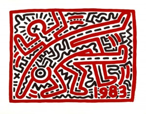 En bas : Untitled, 1983, Woodcut, 610 x 762 mm Collection of the Keith Haring Foundation © Keith Haring Foundation
