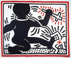 En haut : Untitled, 1984 Acrylic paint on canvas, 298 x 365 cm © Keith Haring Foundation