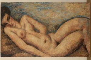 Marcel Gromaire, Ève ou Nu étendu, Huile sur toile, 81 × 130 cm. Collection Carole Plaussu. Courtesy galerie de la Présidence, Paris © ADAGP, Paris 2020