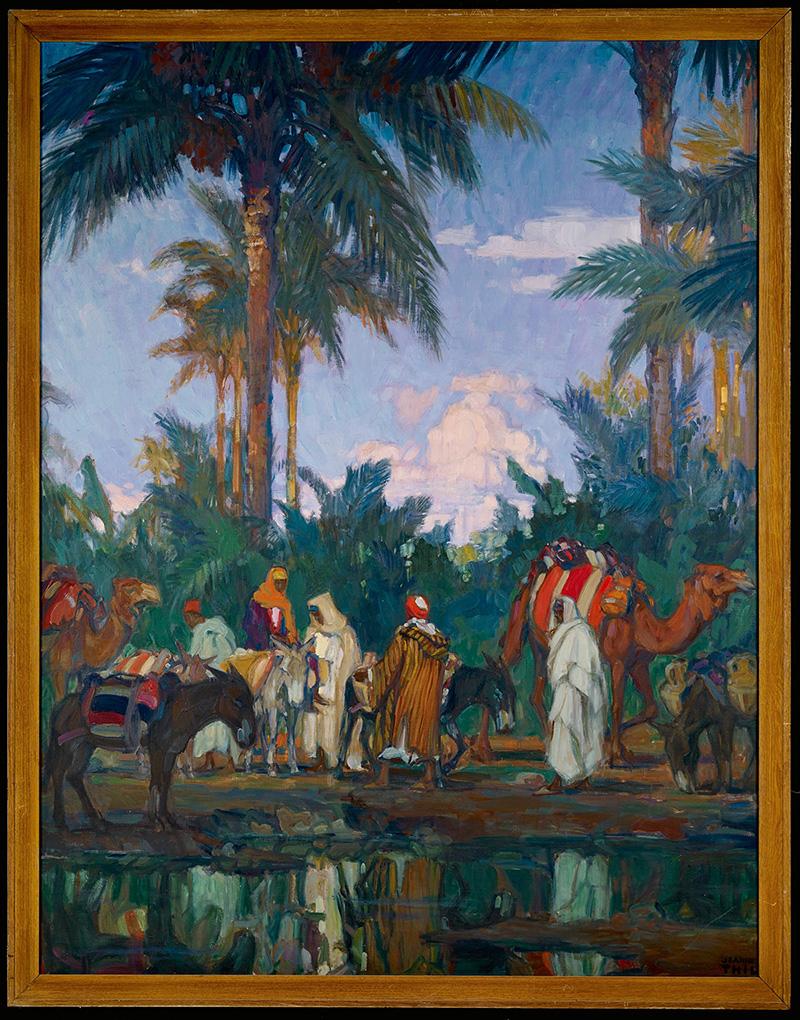 Jeanne Thil, L'Oasis de Gabès, Fin des années 1930 – début des années 1940 Huile sur toile, 189 x 148,5 cm Musée du quai Branly-Jacques Chirac