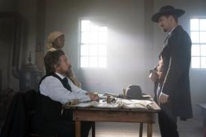 (L-R): Zainab Jah as Harriet Tubman, Ethan Hawke as John Brown and Rafael Casal as John Cook