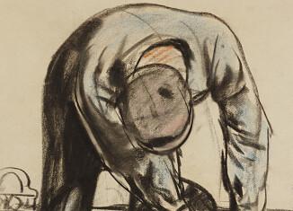 Mineur à la toilette, pastel et fusain sur papier © Centre Historique Minier
